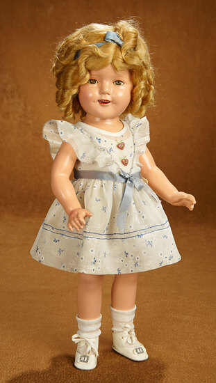 """American Composition Shirley Temple Doll by Ideal in Rare """"Party Dress"""" 500/700"""
