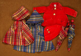 Two Plaid Raincoats and Matching Umbrellas, Red Velvet Coat and Cap 300/400