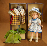 American Composition Shirley Temple by Ideal with Trunk and Costumes 500/700