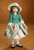 American Felt Artist Doll by Maggie Iacono in Green Felt Dress 600/800