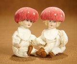 Pair Unusual German Miniature Dolls Velvet Mushroom Caps, Ex-Davos Museum Collection 300/400