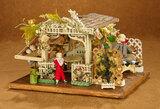 German Miniature Summer Gazebo by Gottschalk, Furnishings and Flowers, Bisque Dolls 800/1100