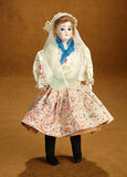 French Bisque Poupee in Original Folklore Costume of Sables d'Olonne, France 1200/1500