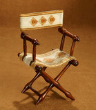 French Wooden Campaign Chair with Needlework Seat  300/400