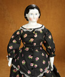 German Porcelain Doll with Black Sculpted Hair 300/400