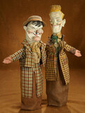 American Folk Art  Carved Wooden Folk Puppets of Laurel and Hardy 400/500