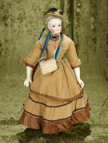 "15.5"" Lovely unmarked bisque fashion lady with perfect bisque and cobalt blue glass eyes."