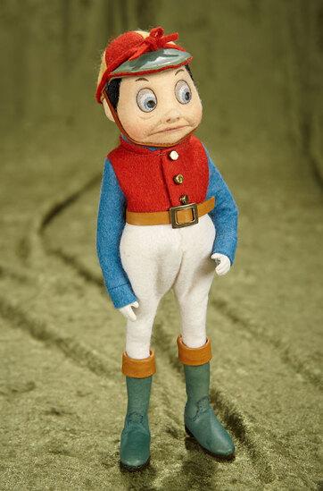 """9"""" American felt artist dolls """"The Jockey"""" a Palmer Cox Brownie by R. John Wright."""