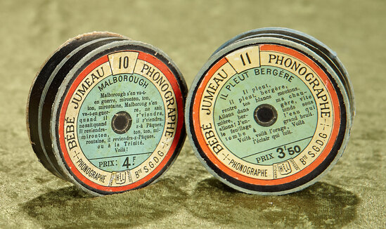 "2.5"" Pair of French Lioret cylinder records for Jumeau ""Bebe Phonographe"""