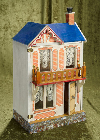 "20.5"" German two-story, wood and lithograph dollhouse with front balcony."