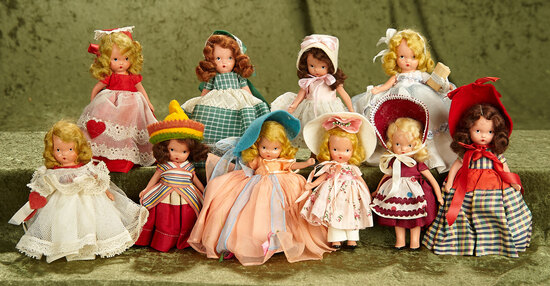 "5.5"" Lot of small all-bisque Nancy Ann Storybook dolls in nice clean costumes."