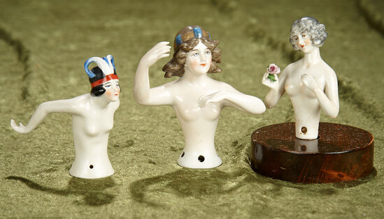 "3.5"" Three Art Deco Style Porcelain half-doll ladies with arms away."