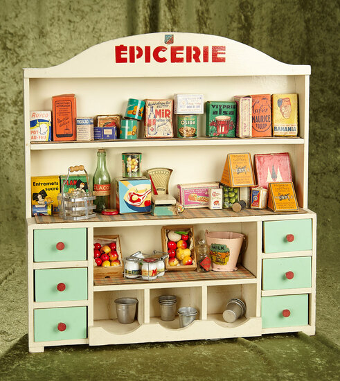 "20"" h. 1940-50's French ""Epicerie"" grocery store counter stocked with groceries."