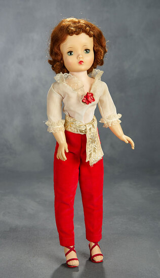 Titian-Haired Cissy in Red Velvet Pants and Organdy Blouse, 1956/57 400/500