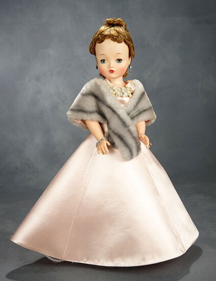 Brunette Cissy in Rose Satin Gown and Faux-Fur Cape, 1956  400/500