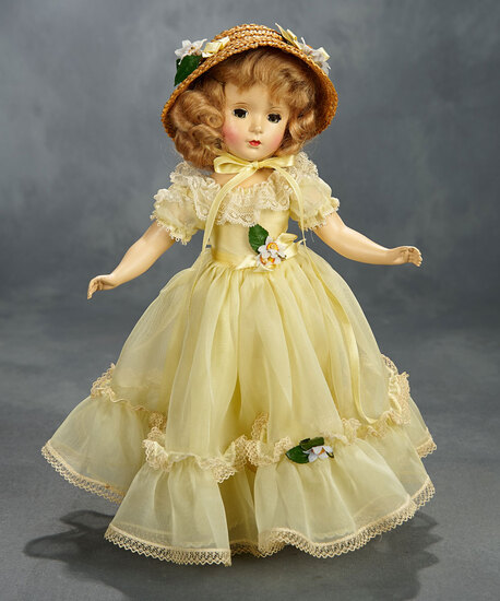 "Blonde ""Margaret Rose"" in Yellow Organdy Gown with Lace Edging 400/500"