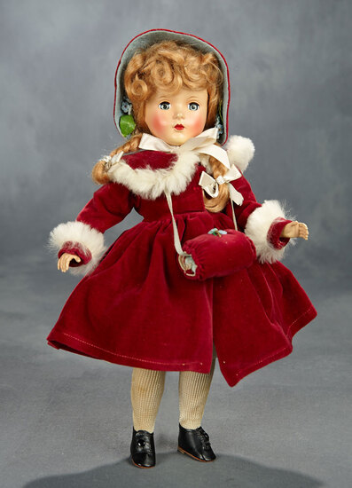 McGuffey Ana in Burgundy Velvet Coat with White Fur Trim, 1951 1200/1600