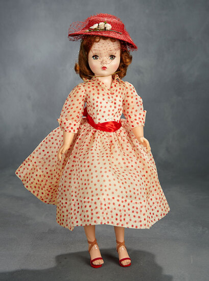 Cissy in Red and White Organdy Polka Dot Ensemble, 1956 400/500