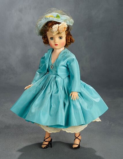 Elise in Aqua Taffeta Afternoon Dress and Hat, 1958 400/500