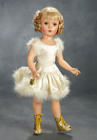 """Babs"" Skater in Ivory Skating Ensemble with Floss Wig, 1950 400/600"