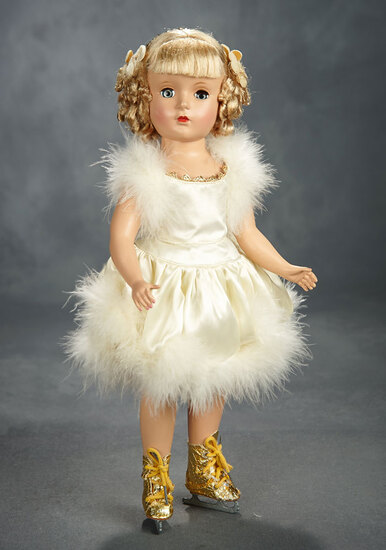 "Petite ""Babs"" Skater in Ivory Skating Ensemble with Floss Wig, 1950 300/400"