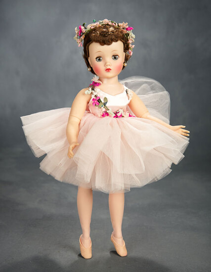 Elise Ballerina in Pink Tutu with Lavish Flowers, Mint in Box, 1957 400/500