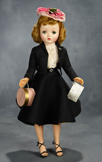 Cissy in Black Wool Suit with Flower Petal Hat, 1957 600/800