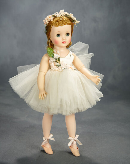 Elise Ballerina in White Tutu with Lavish Flowers, Mint in Box, 1957 400/500