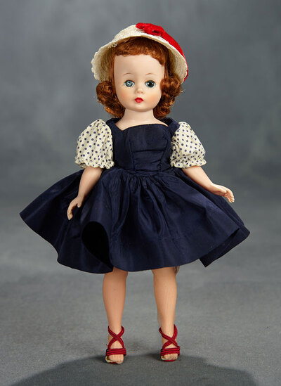 Cissette in Navy Blue Taffeta Dress with Polka Dot Sleeves, 1957 300/400