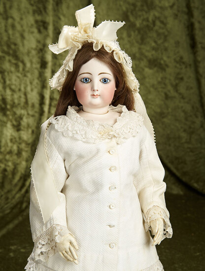 """25"""" French bisque poupee by Gaultier, size 8, with beautiful spiral eyes. $2600/2900"""