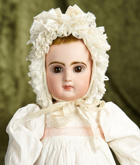 """15"""" French bisque closed mouth Bebe Reclame by Emile Jumeau, size 6, signed body. $2400/2800"""
