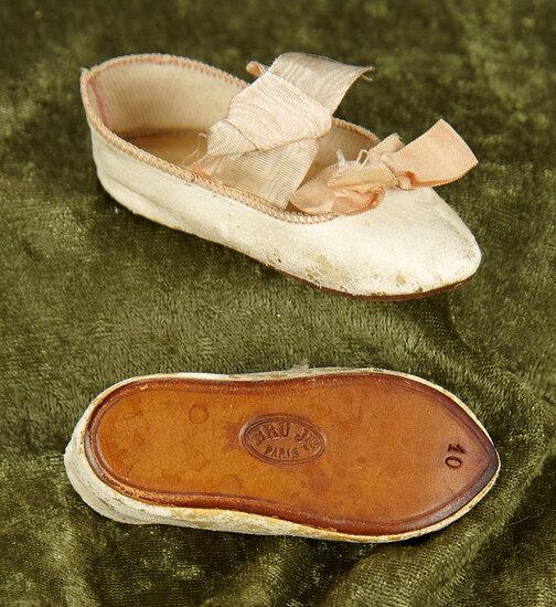 "3"" French cream kidskin shoes with rose satin bows signed ""Bru Jne Paris 10"". $500/700"