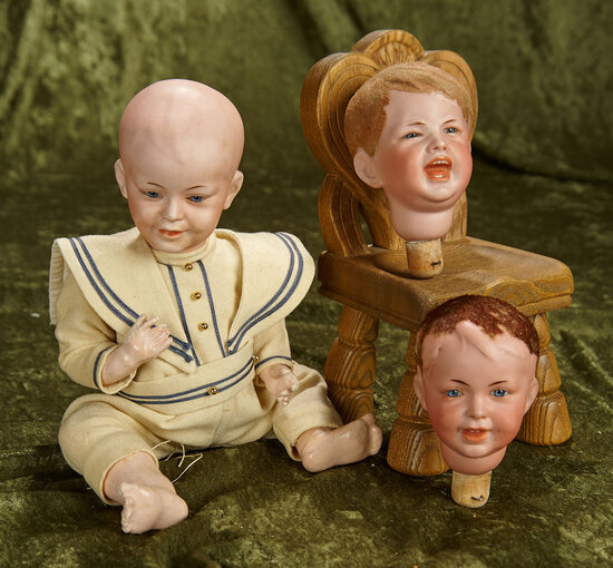 """12"""" Rare French bisque multi-head set of character dolls. $1800/2200"""