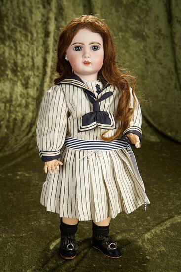 "19"" French bisque blue-eyed bebe by Emile Jumeau, original body, mariner costume. $1400/1700"