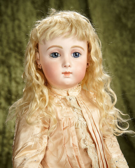 "24"" French bisque blue-eyed Bebe Triste by Emile Jumeau, size 11. $9000/11,000"