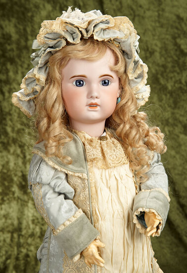 "30"" French bisque blue-eyed Bebe Jumeau, open mouth, 1907 model. $1400/1600"