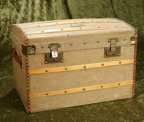 """18"""" French domed doll trunk with Delechaux boutique label. $400/500"""
