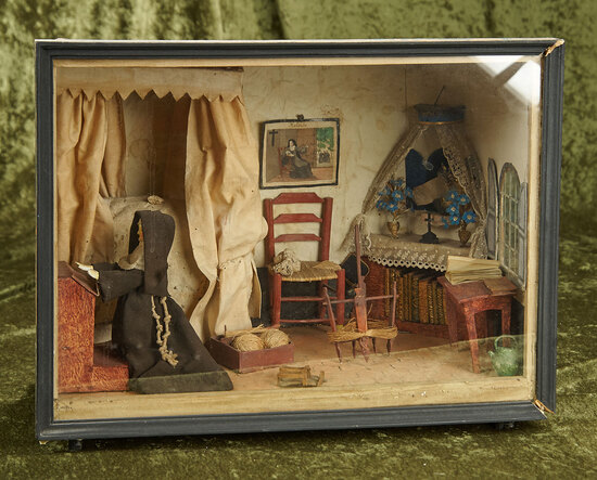"""16"""" x 13"""" Early French room setting depicting nun at prayer, spinning wheels, poster bed, $600/800"""