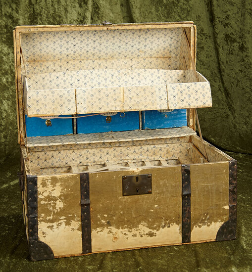 """19"""" x 13"""" x 13"""" French doll trunk with elaborately fitted interior. $500/700"""