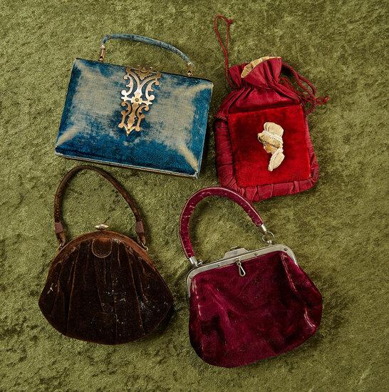 """4""""-6"""" Four French velvet purses for bebes. $400/500"""