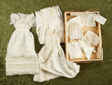 Collection of antique bebe clothing in early box from Paris store Printemps. $400/500