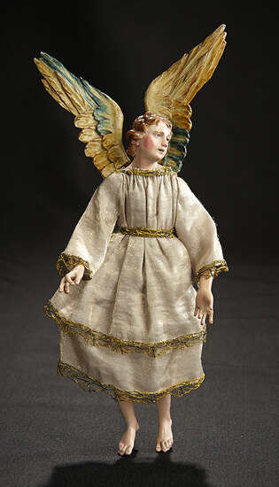 Neapolitan Angel with Carved Wooden Wings Attributed to Ingaldo 1100/1300
