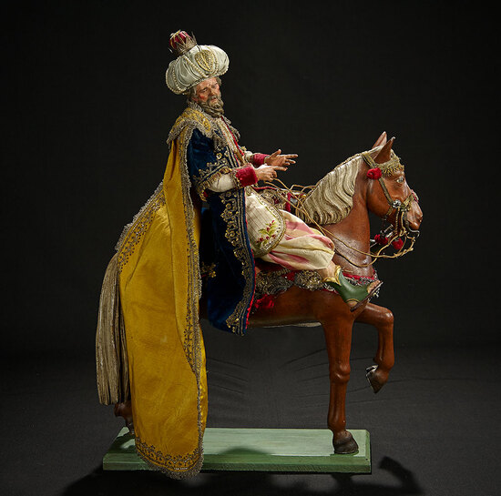 Neapolitan Caspar, King of Tarsus, in Royal Robes on Horse 10,000/12,000
