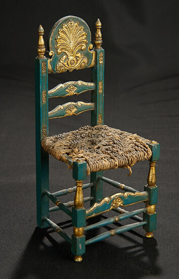 Wooden Chair with Gilt Accented Crest and Finials 300/400