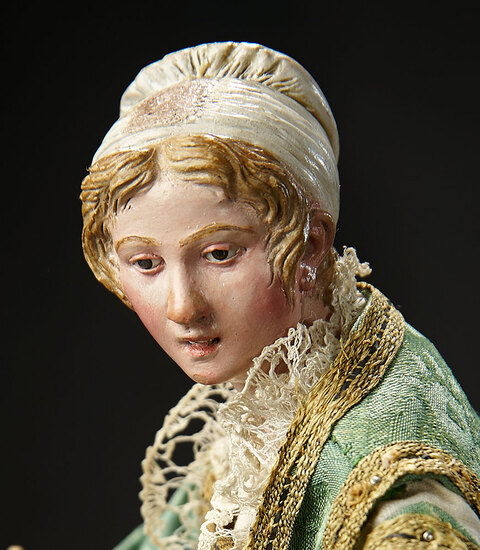 Neapolitan Woman with Rare Sculpted White Bonnet 1800/2200