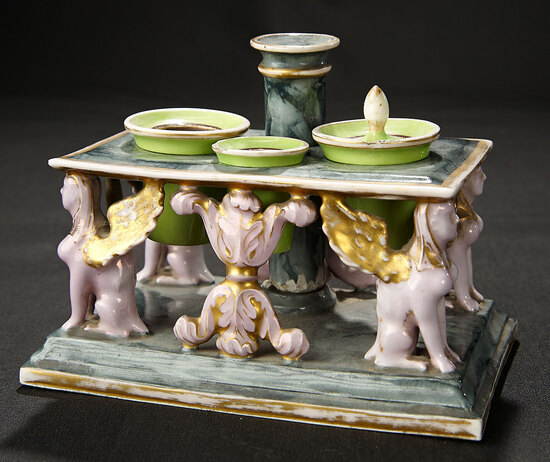 Italian Porcelain Miniature Table with Gargoyle Design 600/800