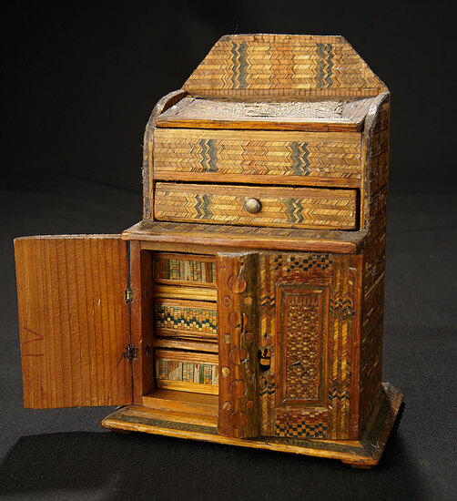 Miniature Wooden Cabinet with Intricate Inlay 300/400