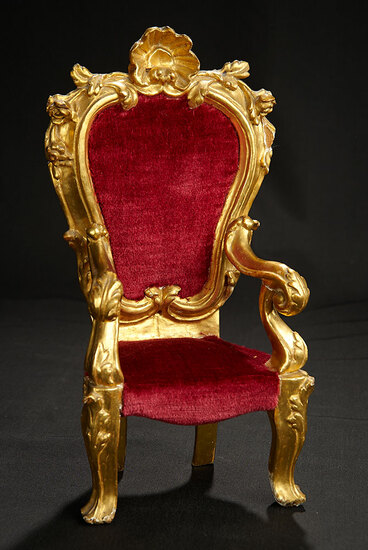 Early Carved Wooden Chair with Gold Leaf Finish 400/500