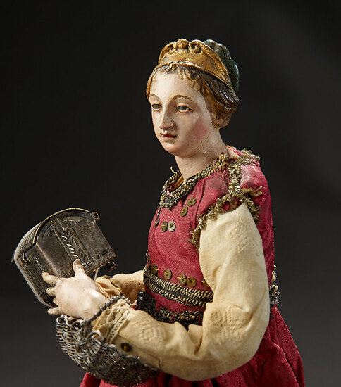 Petite Neapolitan Lady of the Court with Sculpted Gold Diadem and Silver Coffer 1200/1500