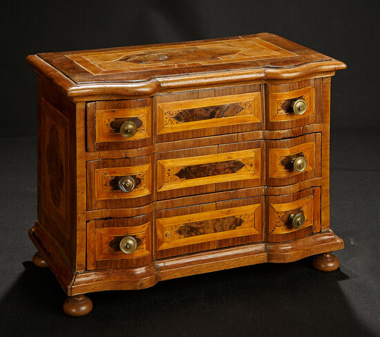 Early Continental Fruitwood Cabinet with Marquetry Inlay 800/1200